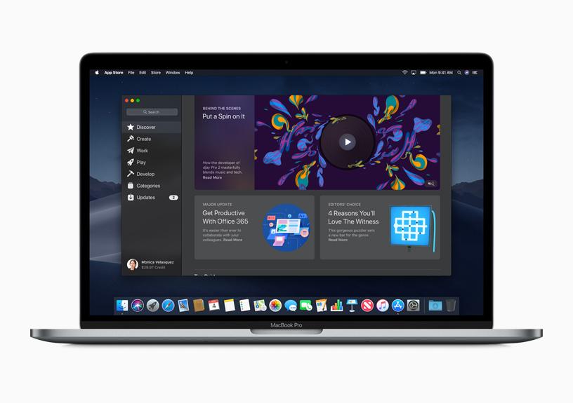 Mac 屏幕上显示的新 Mac App Store