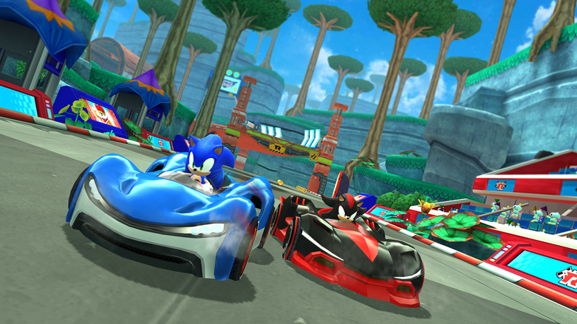 Apple Arcade 中 SEGA《Sonic Team Racing》的游戏画面。