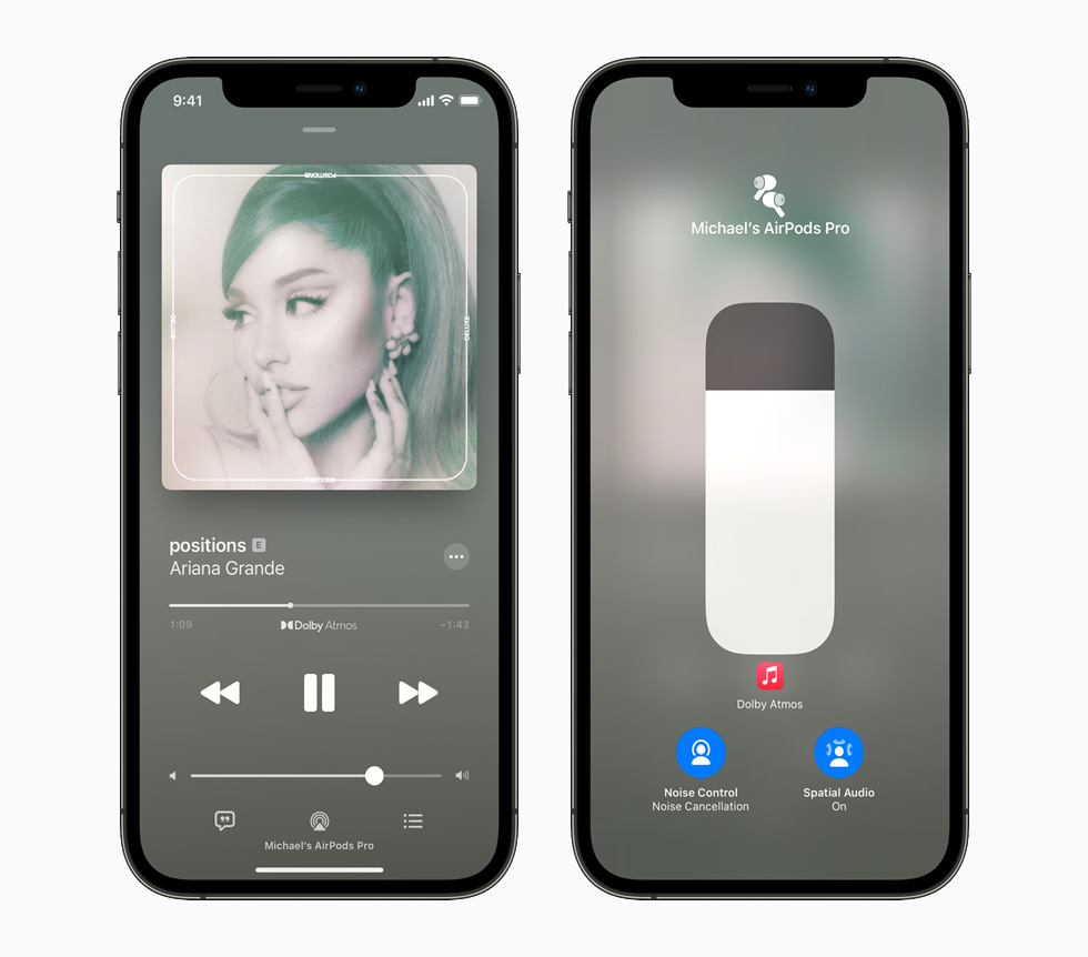 Ariana Grande 在 Apple Music 上的唱片封面,被展示在已和 AirPods Pro 配对的 iPhone 12 Pro 上。