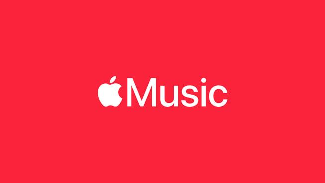 红色背景上的 Apple Music 标识。