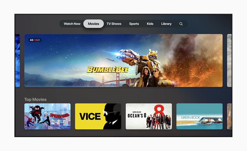 Apple TV app 中的 Movies 主页面。