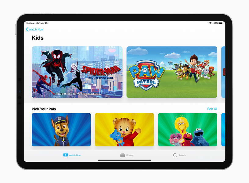 Apple TV app 中的儿童 (Kids) 页面。