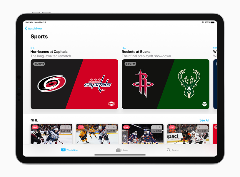 Apple TV app 中的体育 (Sports) 页面。