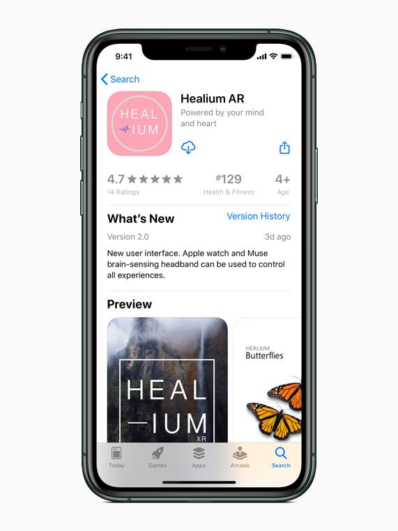 Healium AR app 显示在 iPhone 11 Pro 上的 App Store 中。