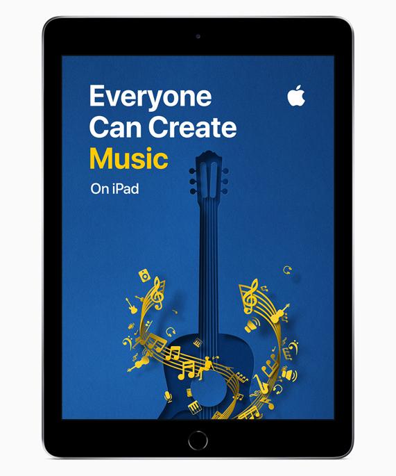 """iPad 展示""""人人能创造""""音乐屏幕。"""