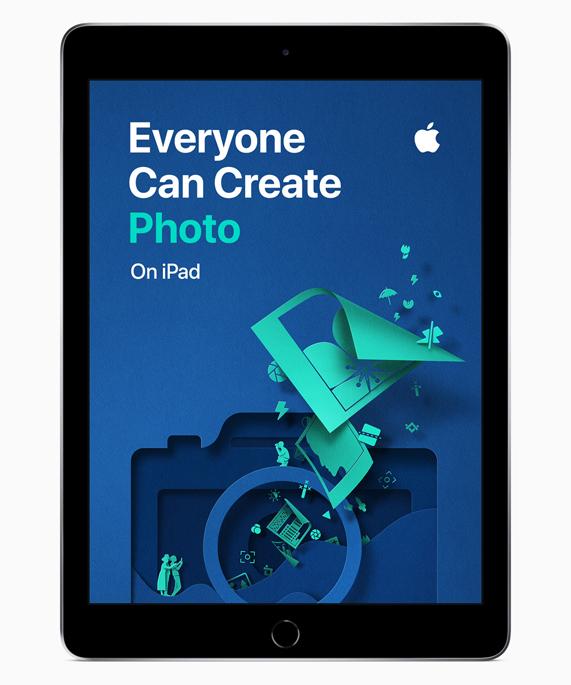 """iPad 展示""""人人能创造""""摄影屏幕。"""