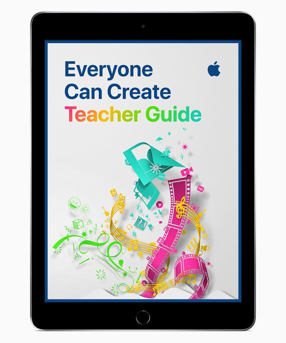 """iPad 展示""""人人能创造""""教师指南屏幕。"""