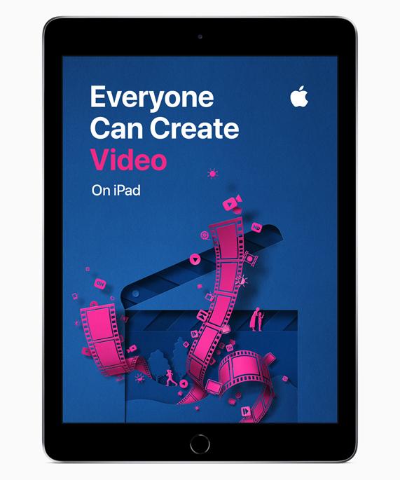 """iPad 展示""""人人能创造""""视频屏幕。"""