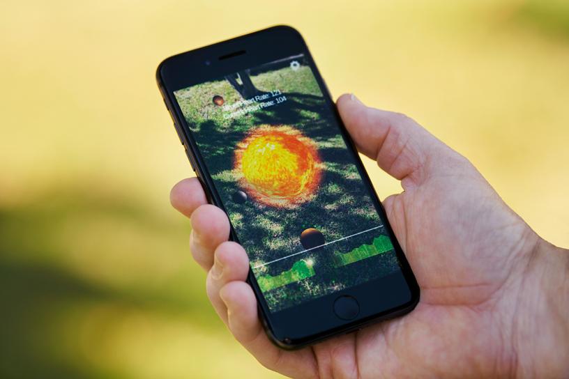 iPhone 11 Pro 上的 Healium AR app。
