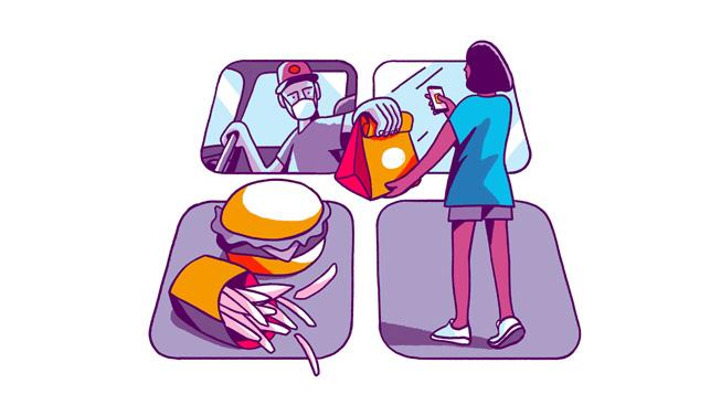 送餐外卖服务类 app 的图像。