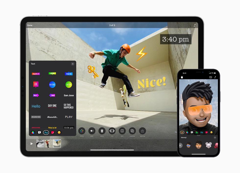 iPad Air 和 iPhone 12 上所显示的可立拍简化界面。