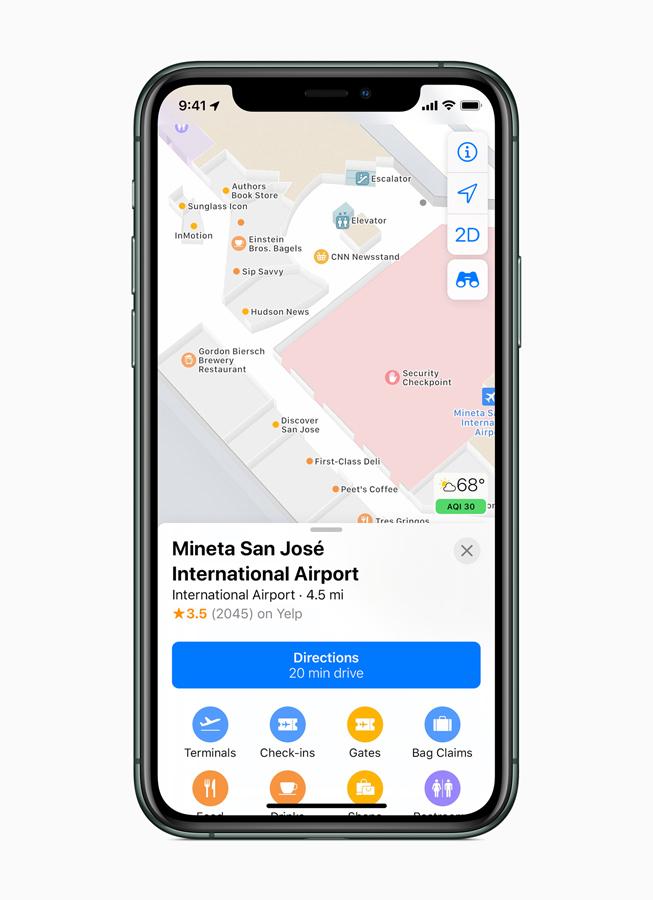 iPhone 11 Pro 屏幕上显示新的室内地图功能。