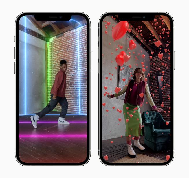 AR 空间的棱镜和爱心特效,分别显示在 iPhone 12 Pro 上。