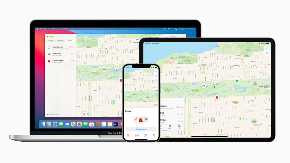 "MacBook Pro、iPad Pro 和 iPhone 12 Pro 上显示的""查找"" app。"