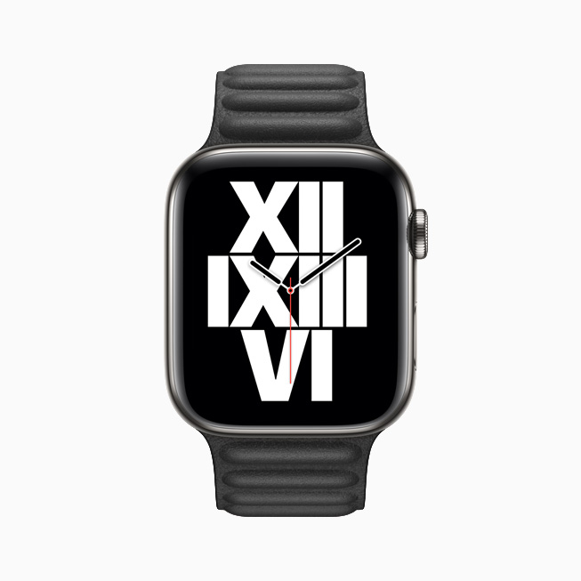 Apple Watch Series 6 上显示的字体排印表盘。