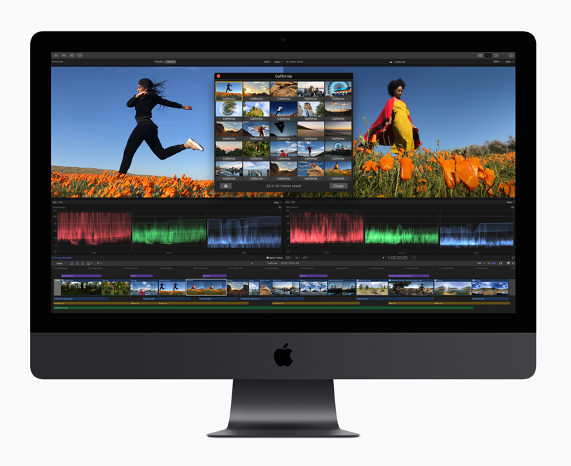 iMac 上显示 Final Cut Pro X 屏幕截图。