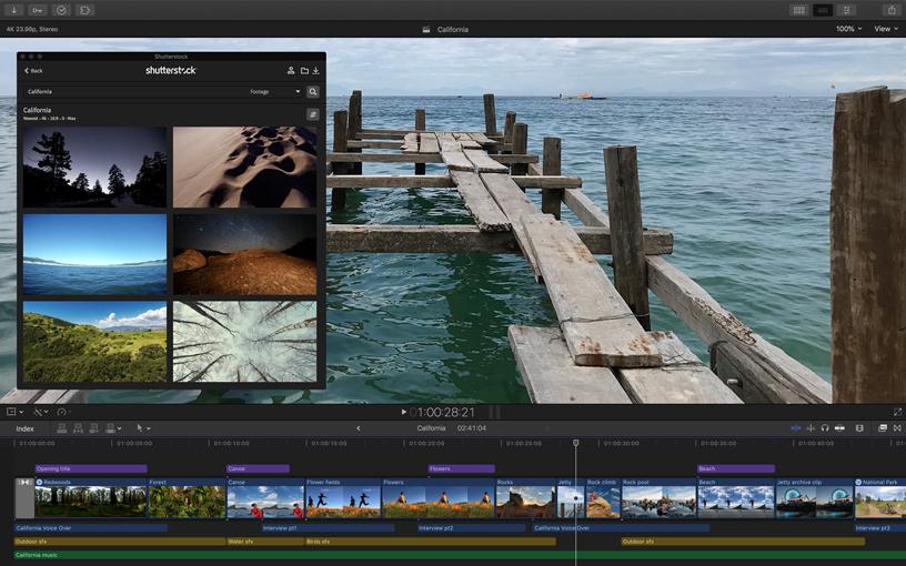 Final Cut Pro X 屏幕截图。