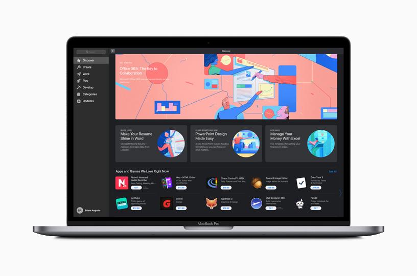 """MacBook Pro 上 Mac App Store 的""""探索""""页面。"""