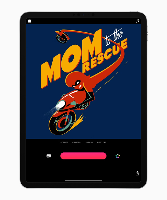 The Incredibles 2 film poster in Clips on iPad.
