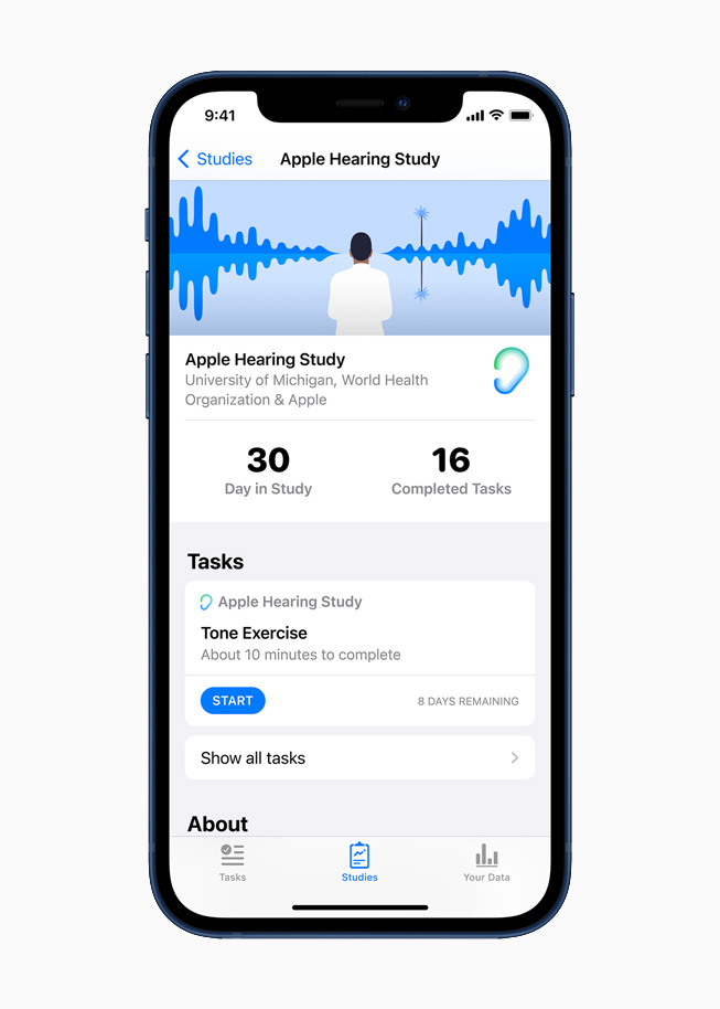 Apple 听力研究在 iPhone 12 上显示。