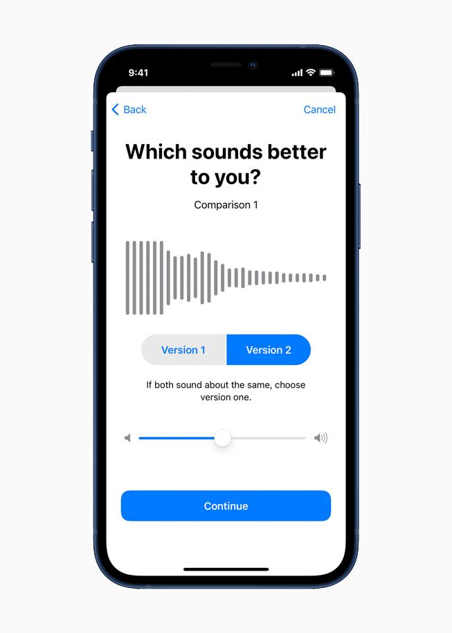 耳机调节功能在 iPhone 12 上显示。