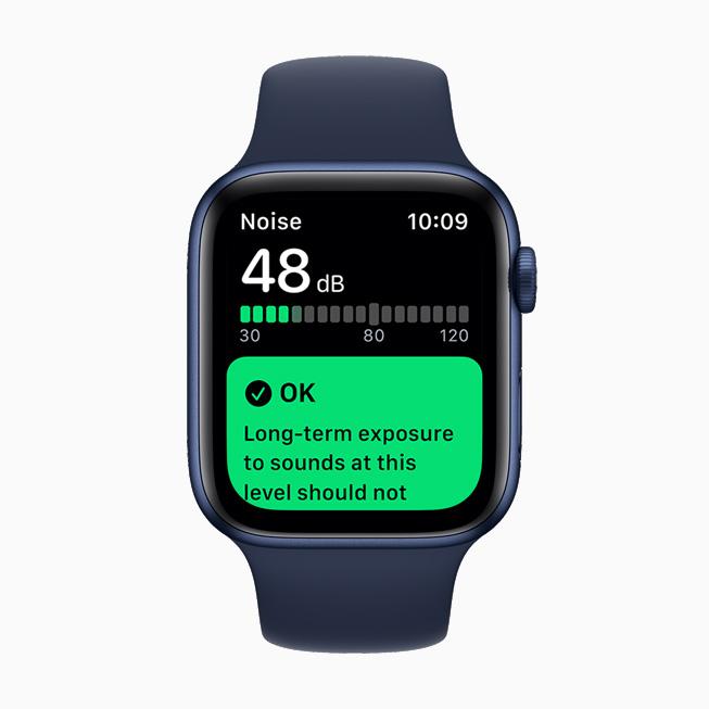 噪声 app 在 Apple Watch Series 6 上显示。