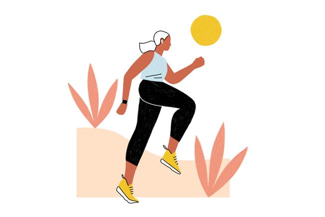 一位女性女性正在户外跑步的插图。