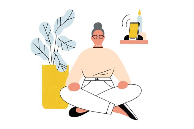 一位女性正在冥想的插图。
