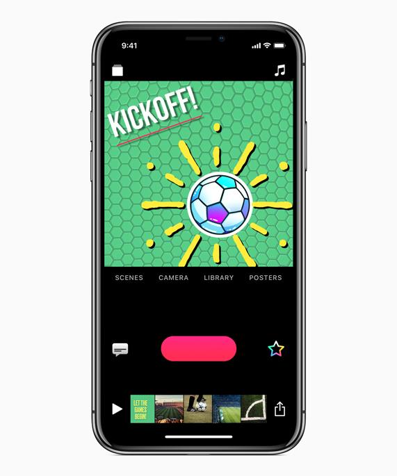 iPhone X 上展示的用可立拍制作的世界杯开球场景