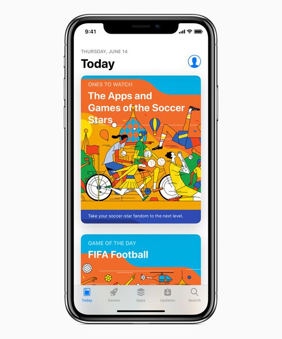 iPhone X App Store 上展示的世界杯内容菜单