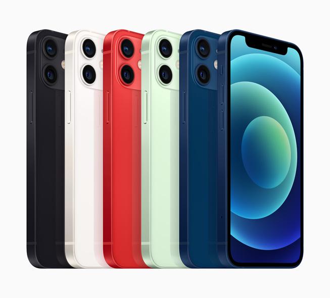 六部 iPhone 12 mini 展示机身色彩、双摄系统和超视网膜 XDR 全面屏。