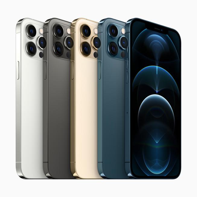 五个 iPhone 12 Pro Max 机型展示机身色彩、Pro 级摄像头系统和超视网膜 XDR 全面屏。