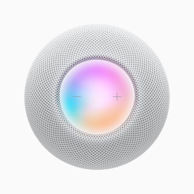 HomePod mini 顶部触控板的俯视图。