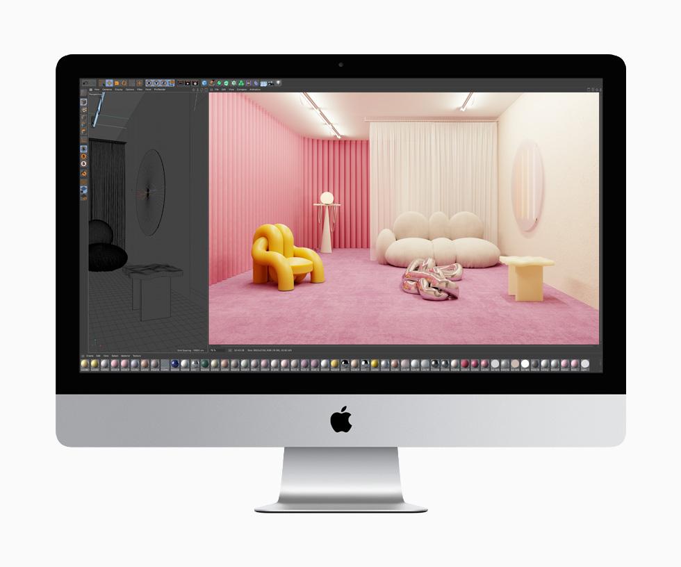 以 Cinema 4D 创作两幅图像,一幅为有家具陈设的房间的素描,另一幅为同一房间的全色渲染,由此展现 27 英寸 iMac 丰富的图形处理能力。