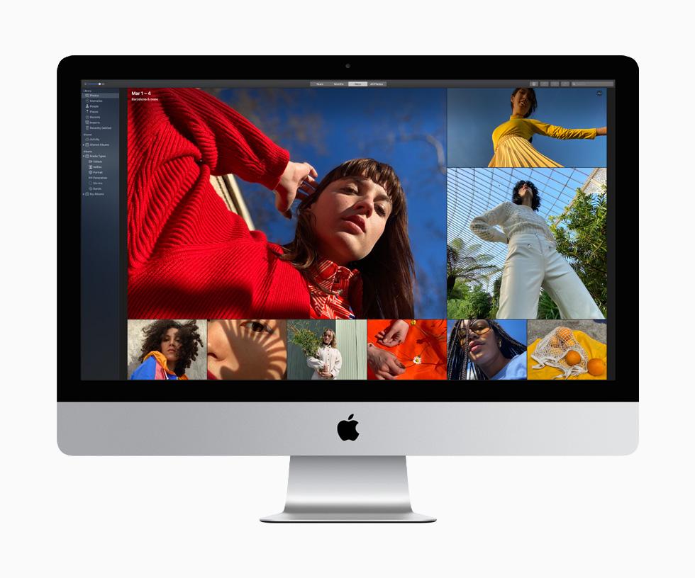 在九张色彩丰富的照片中,一位女士身着红色毛衣和衬衫,另一位身着黄色上衣和百褶裙,由此展现 27 英寸 iMac 生动鲜明的画质。