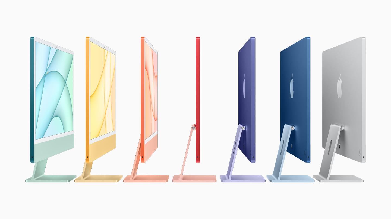 七种 iMac 新机型,尽显这款电脑的纤薄外观与多种可选颜色。
