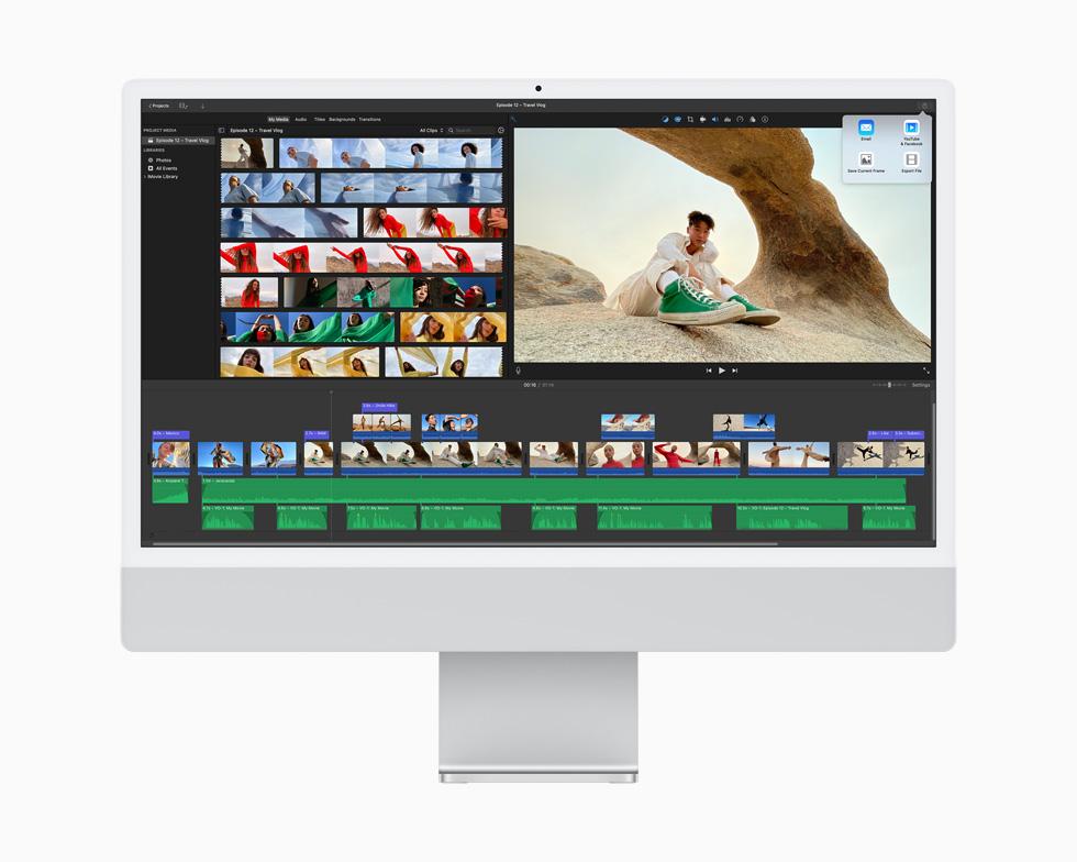 在一台银色 iMac 上,iMovie 剪辑 app 正在编辑视频项目。