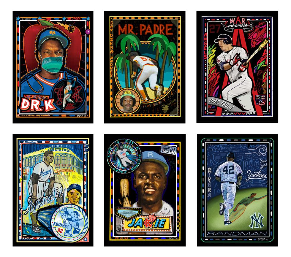 "Eric ""Efdot"" Friedensohn 为 Topps 的 Project 2020 项目创作的一系列棒球球星卡。"