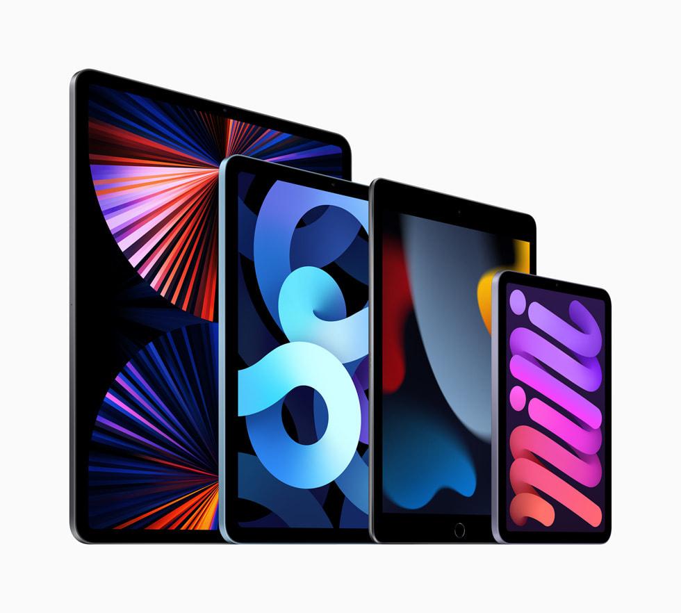 iPad 系列产品包括新款 iPad、iPadPro、新款 iPadmini 和 iPadAir。