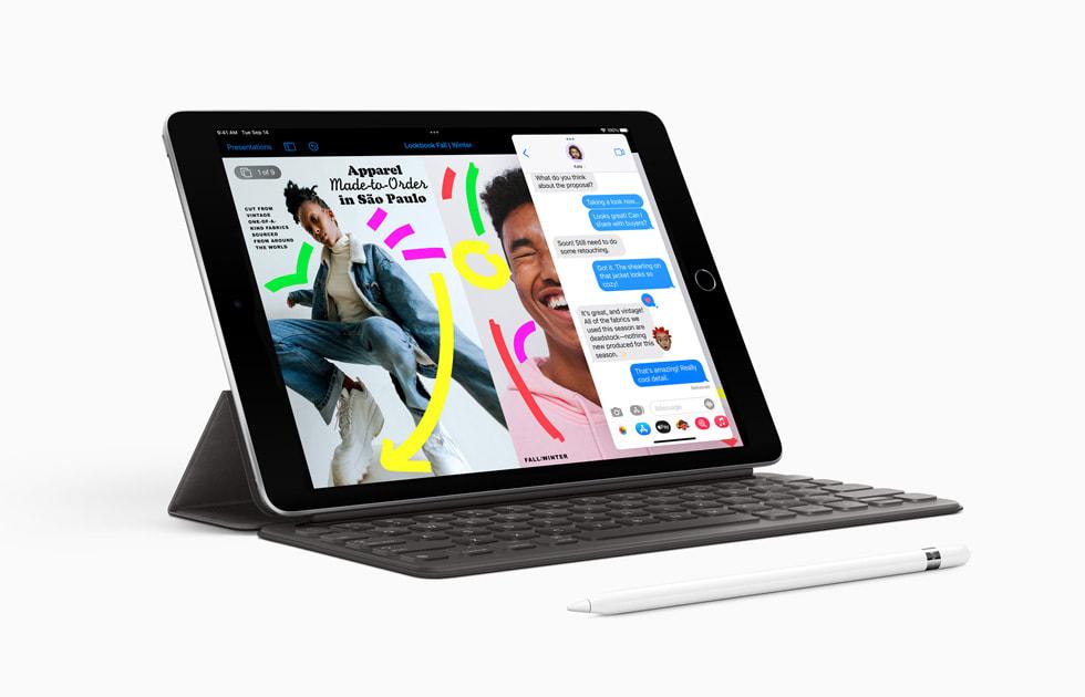 搭配 Apple Pencil(第一代)和智能键盘的新款 iPad。