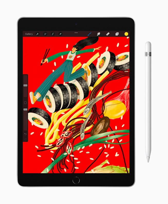 在支持 Apple Pencil 的新款 iPad 上展示画作。