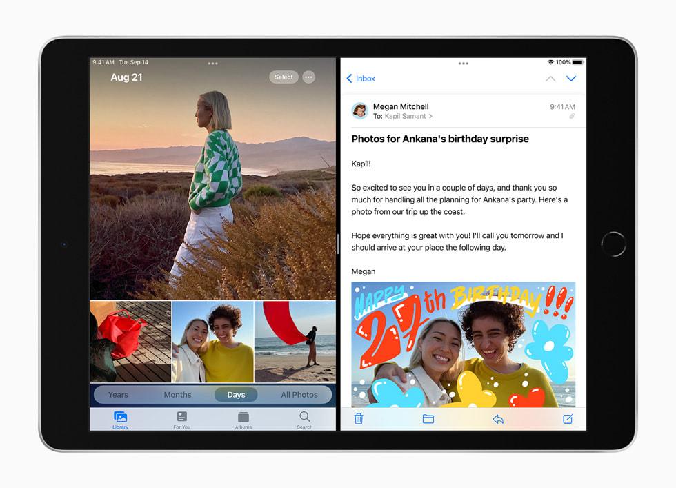 在新款 iPad 上分屏浏览备忘录 app 和邮件 app。