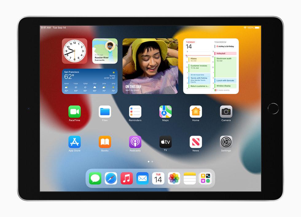 新款 iPad 上的全新主屏幕小组件。