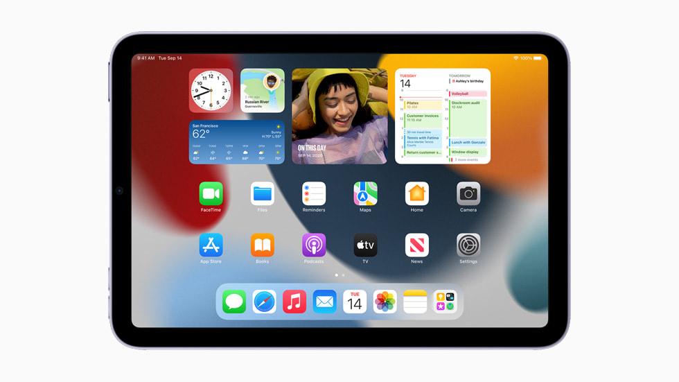 iPad mini 上全新的主屏幕小组件。
