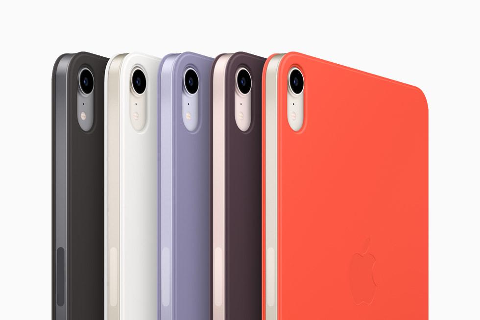 新款的 iPad mini 智能双面夹提供黑色、白色、绛樱桃色、英伦薰衣草色、亮光橙色五种配色选择。