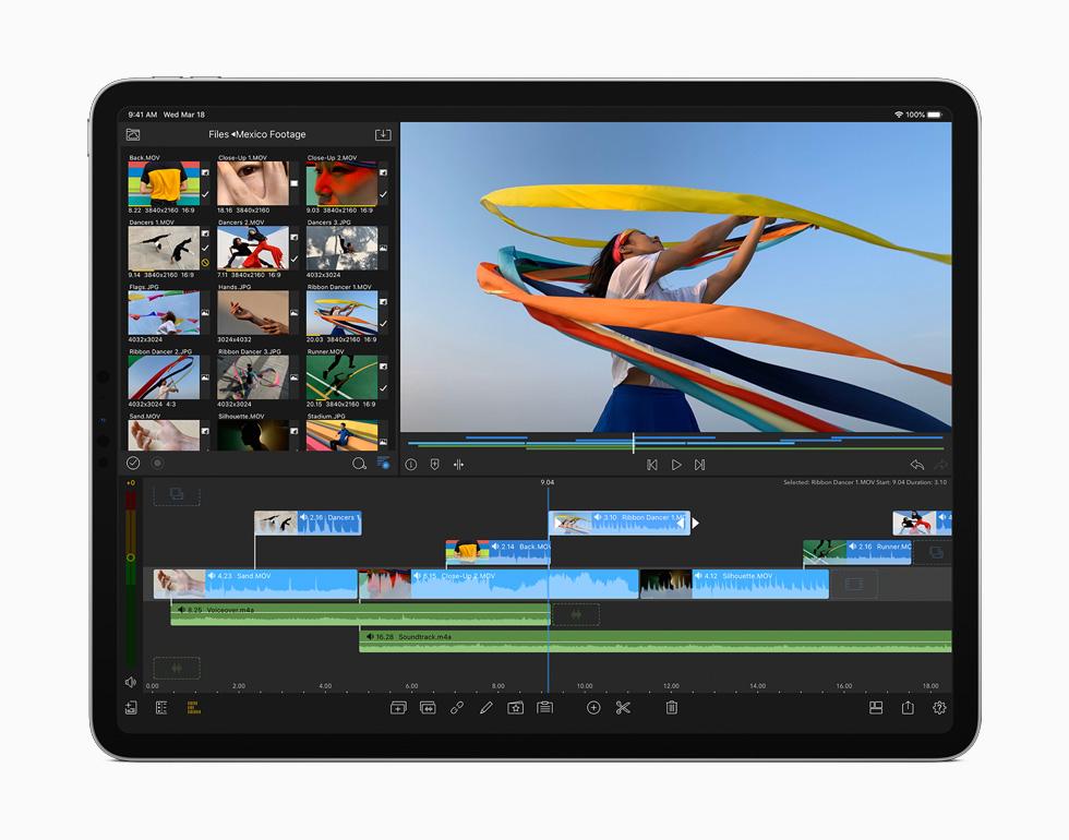在新款 iPad Pro 上进行视频剪辑。