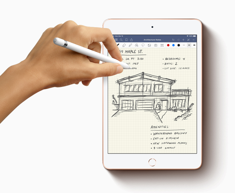 使用 Apple Pencil 在 iPad mini 上记录建筑笔记。