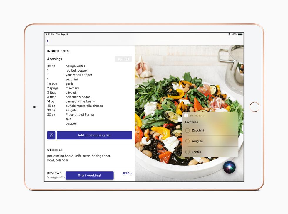 购物清单出现在 iPad 上经重新设计的提醒事项小组件中。