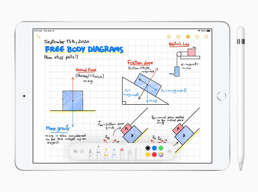 搭配 Apple Pencil 的 iPad (第八代) 上显示备忘录 app。