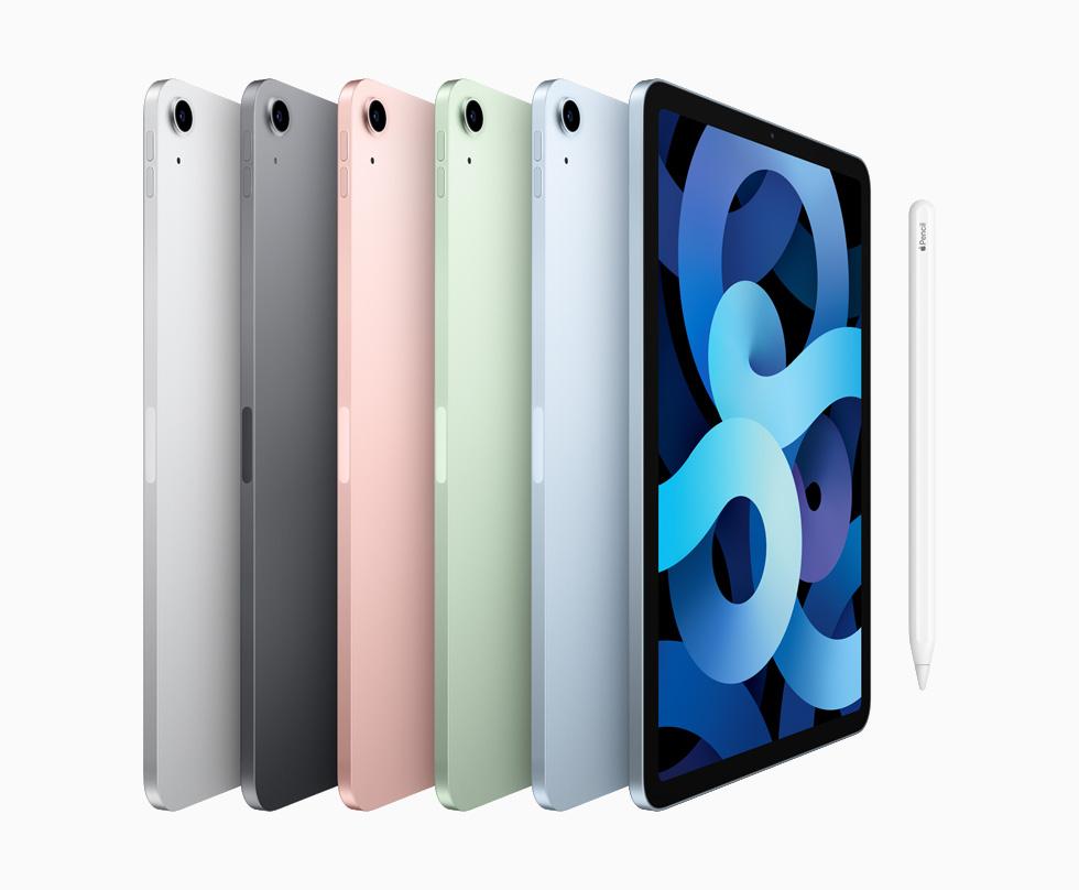 银色、深空灰色、玫瑰金色、绿色和天蓝色的 iPad Air 机型可供选择。